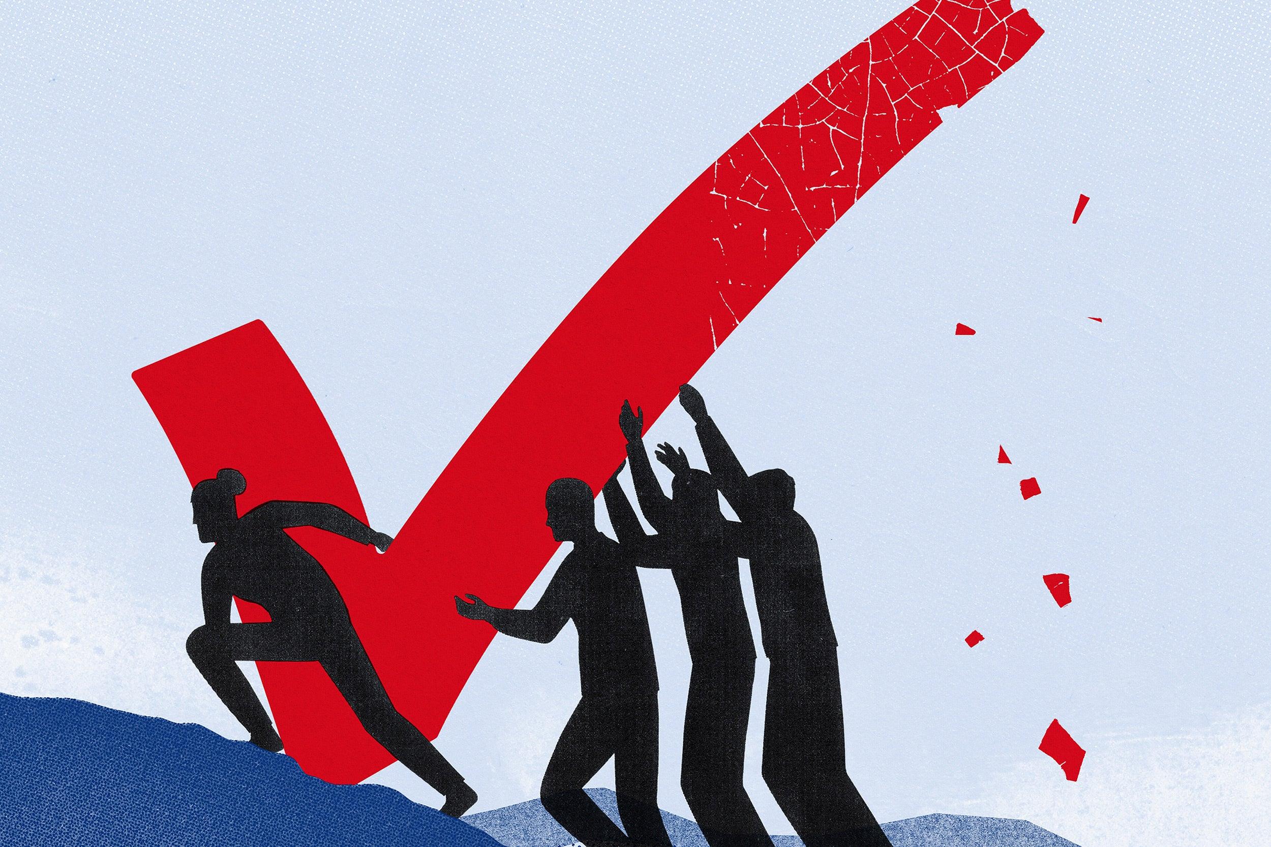 Illustration of people pushing checkmark uphill.