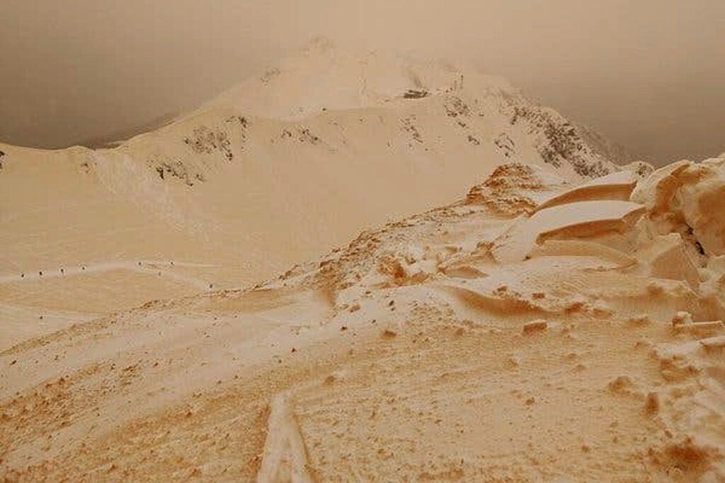 Saharan dust covering European glaciers.