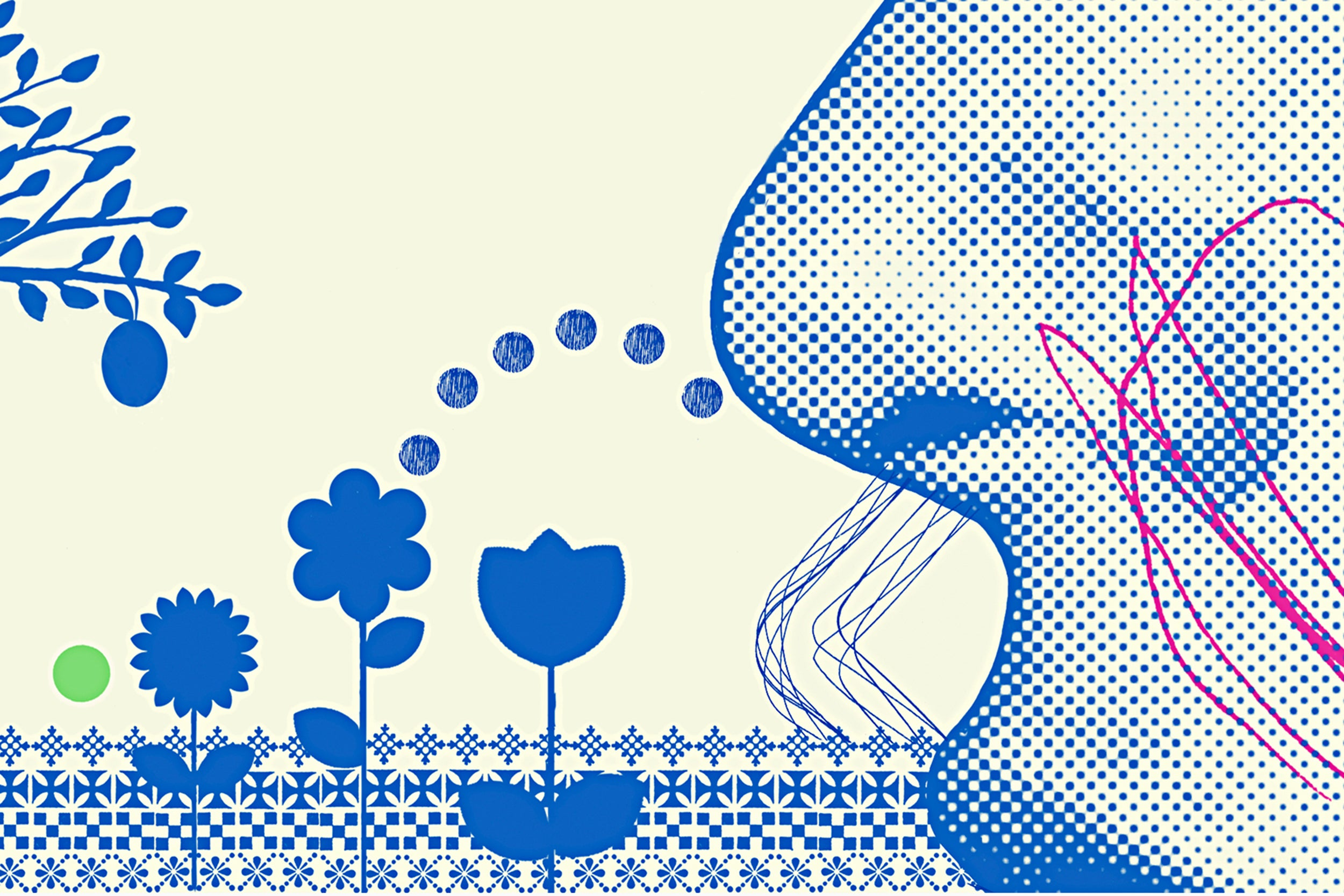 Illustration of a person smelling flowers.