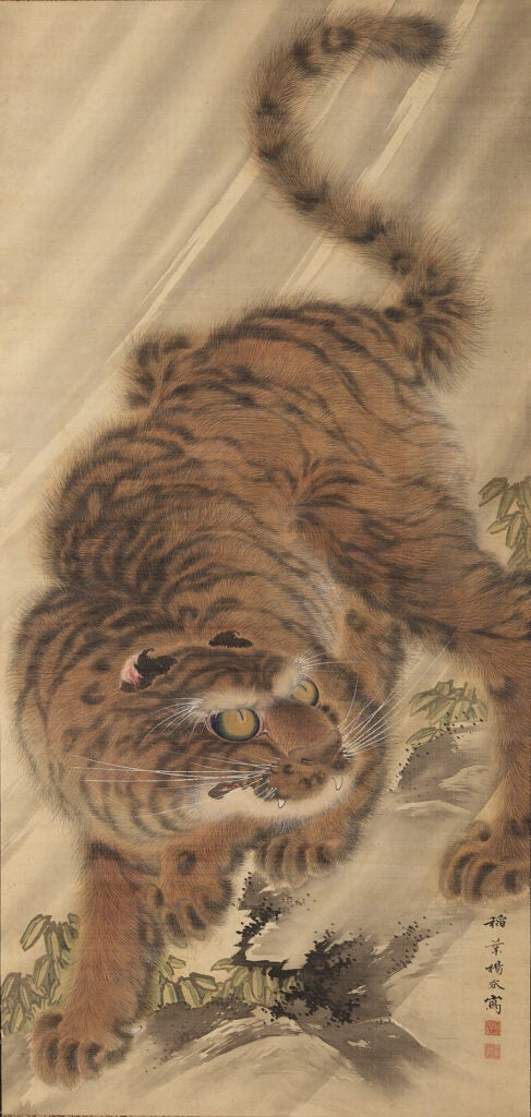 Scroll depicting tiger.