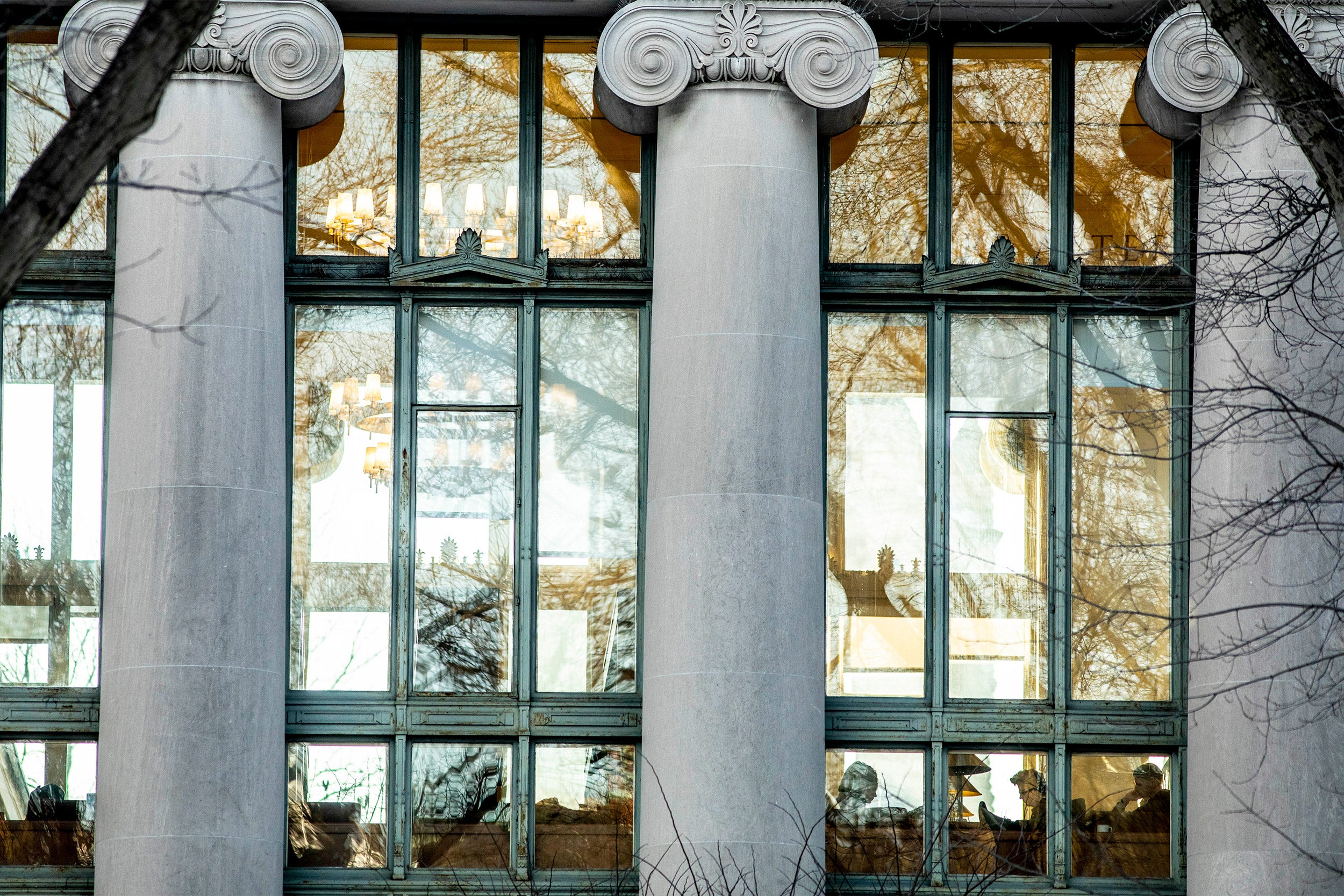 View of Langdell Library at Harvard University.