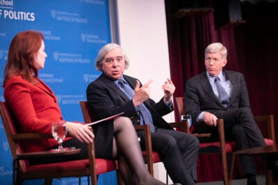 Panel with Meghan Sullivan, former Sec. of Energy Ernest Moniz, and ormer Deputy Secretary of Energy Daniel Poneman,.