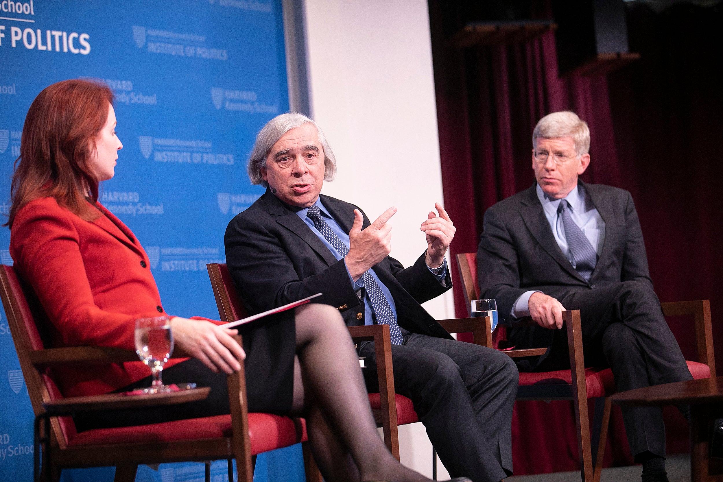 Panel with Meghan Sullivan, former Sec. of Energy Ernest Moniz, and ormer Deputy Secretary of Energy Daniel Poneman,.