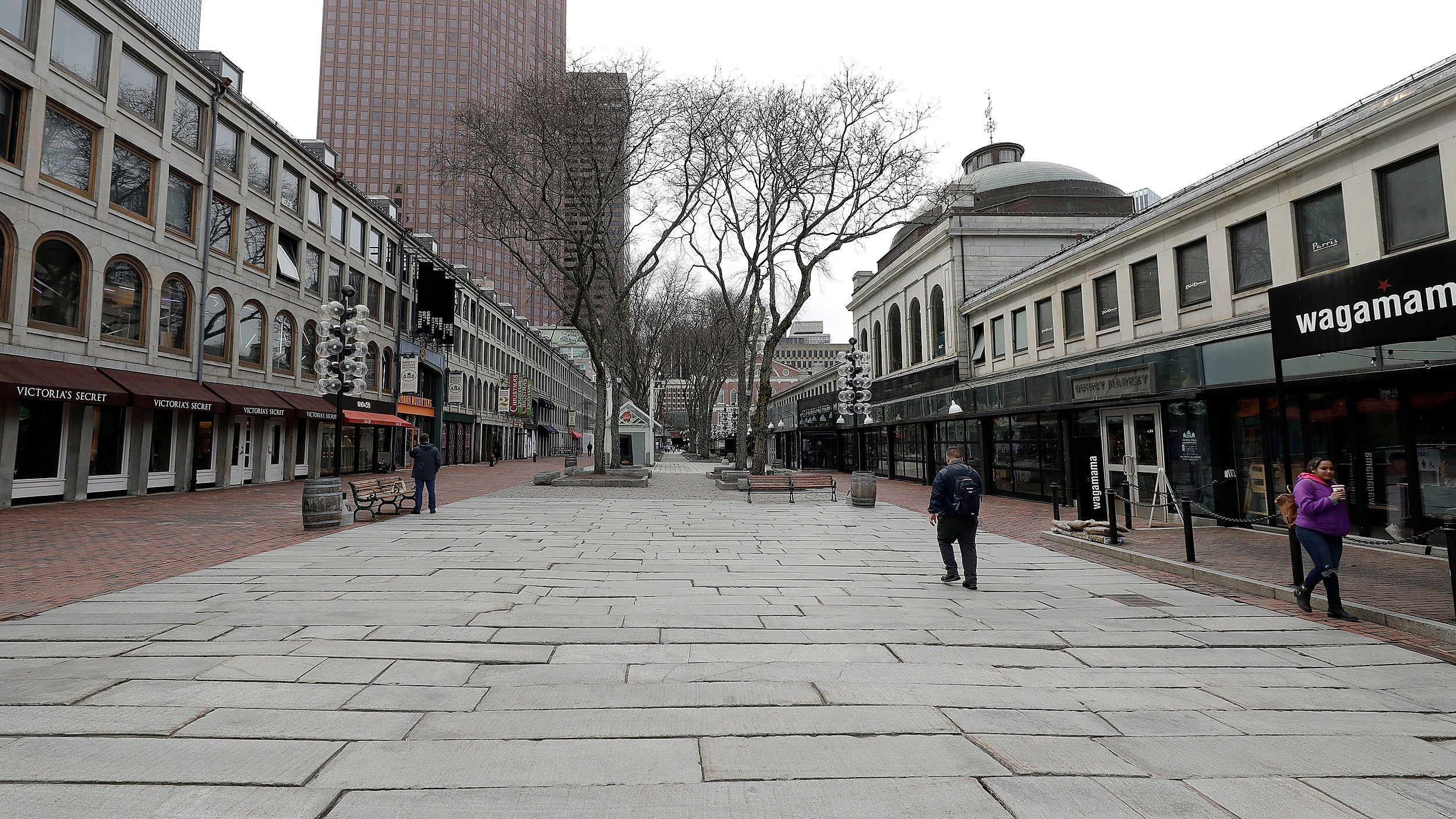 An empty Quincy Market in Boston.
