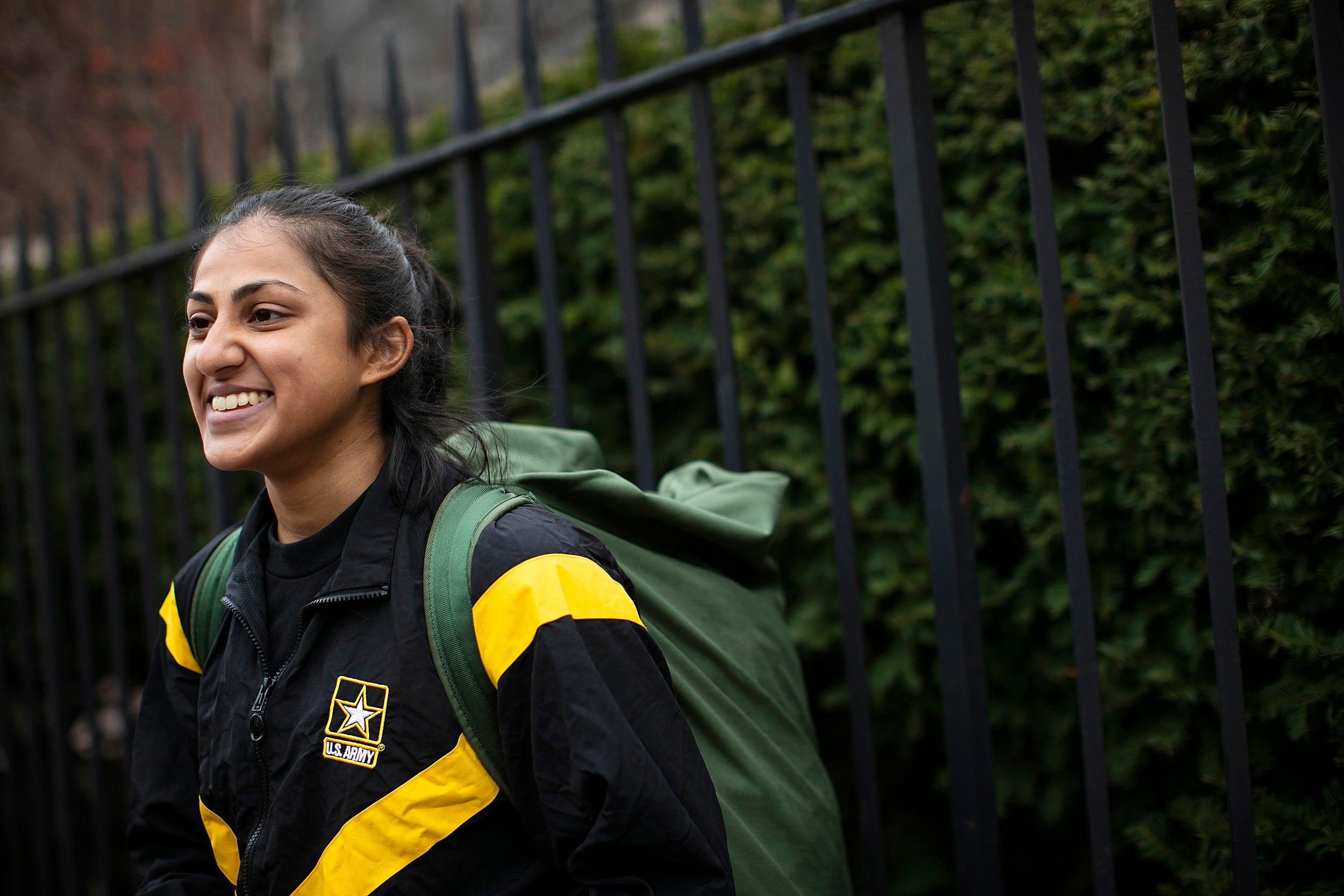 Gayatri Balasubramanian '21 with a backpack.