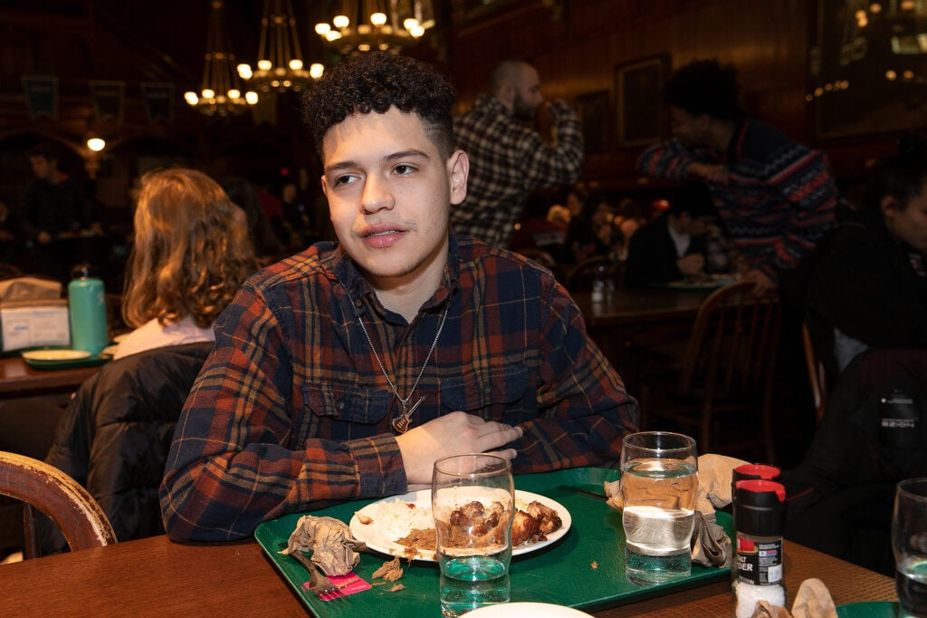 Brian Magdaleno in dining hall.