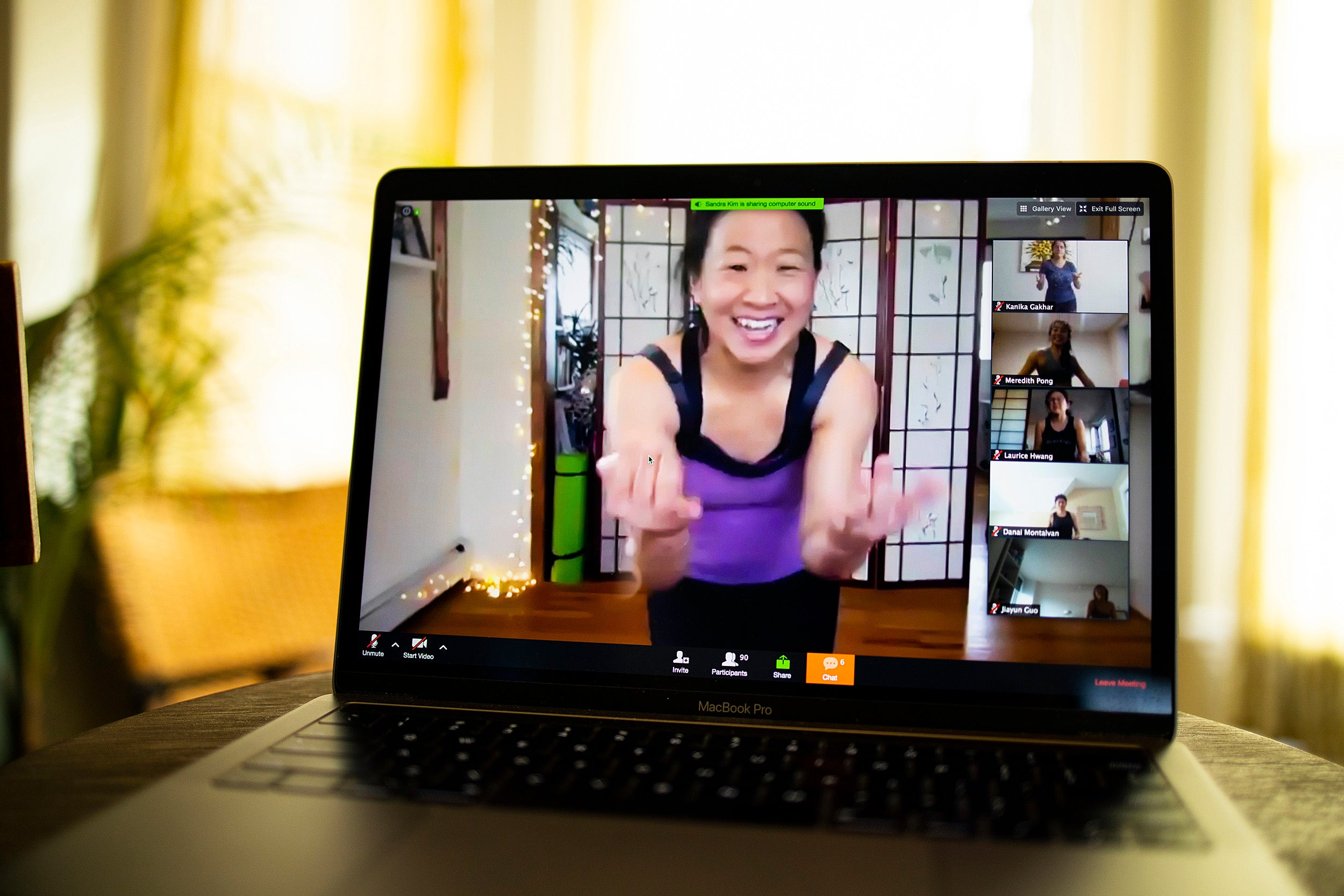Online Zumba class with Sandra Kim.