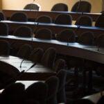 Empty classroom at Harvard Law School.