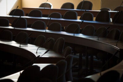 Empty classroom at Harvard Law School.