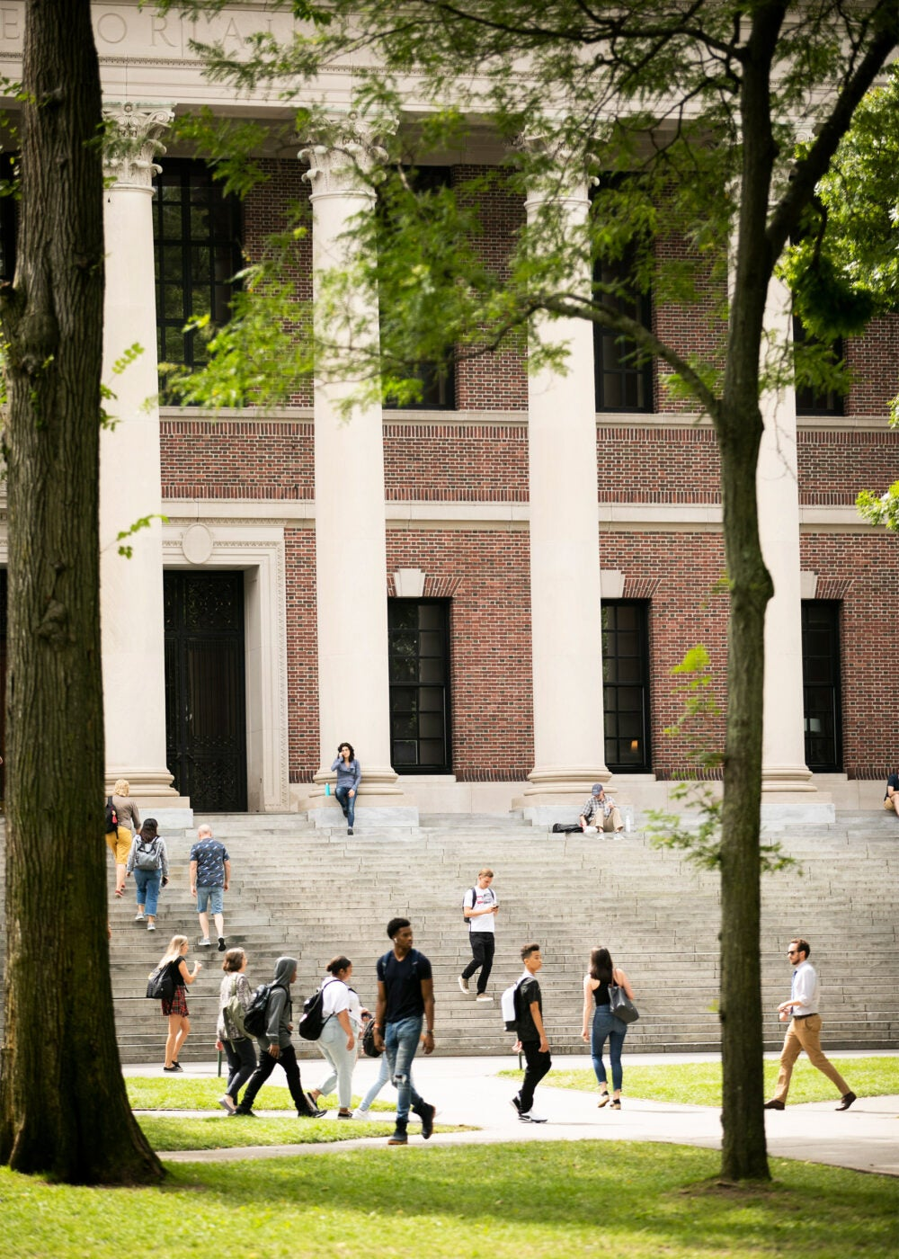 Students flow in and out of Widener Library.