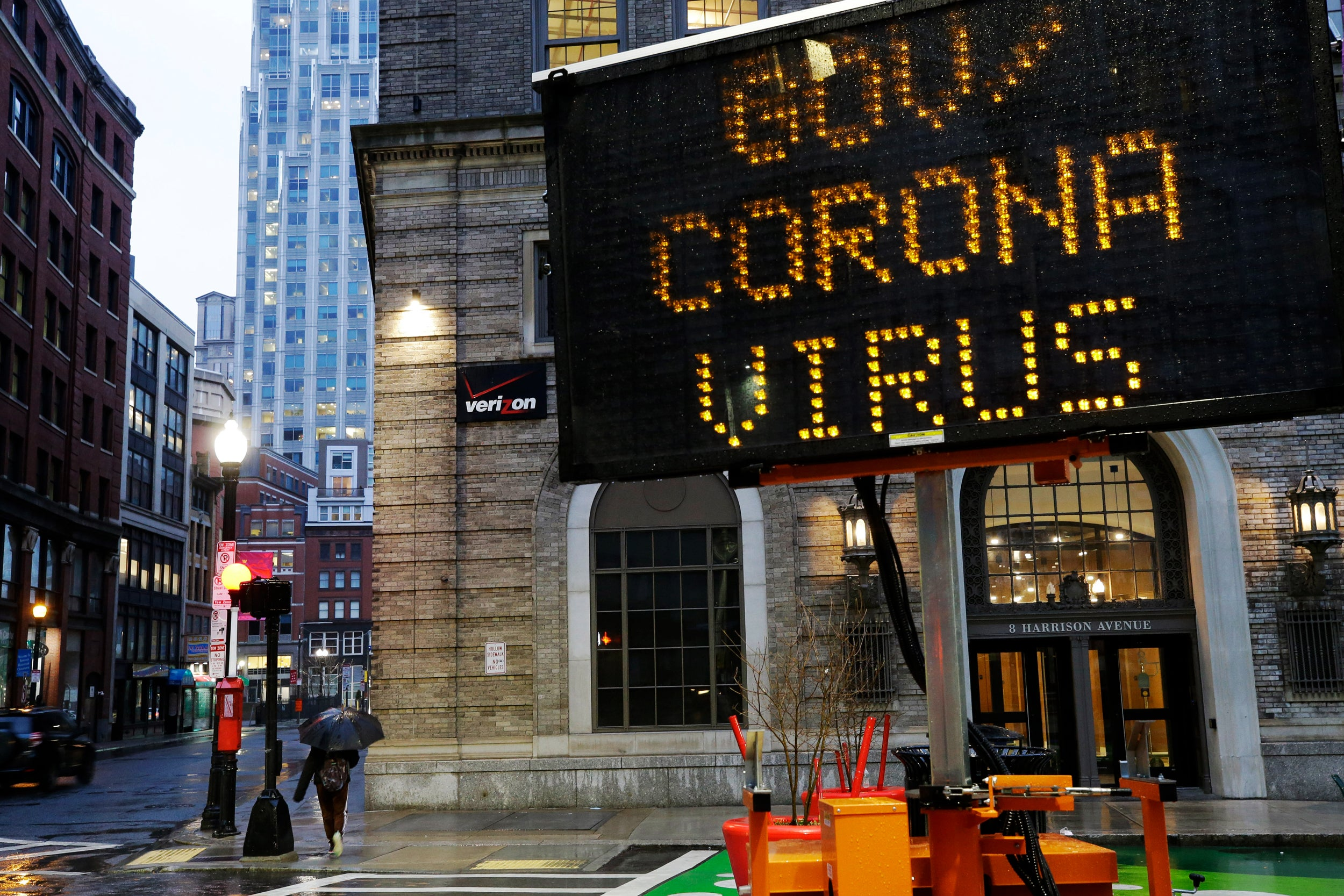 Mobile road sign in Boston directs people to government coronavirus website.
