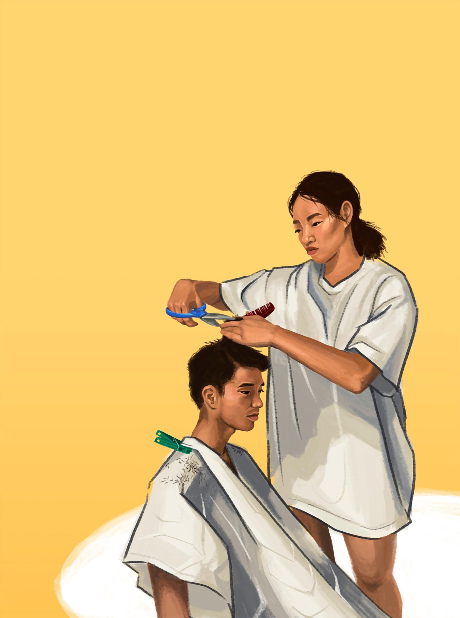 Illustration of woman cutting boy's hair.