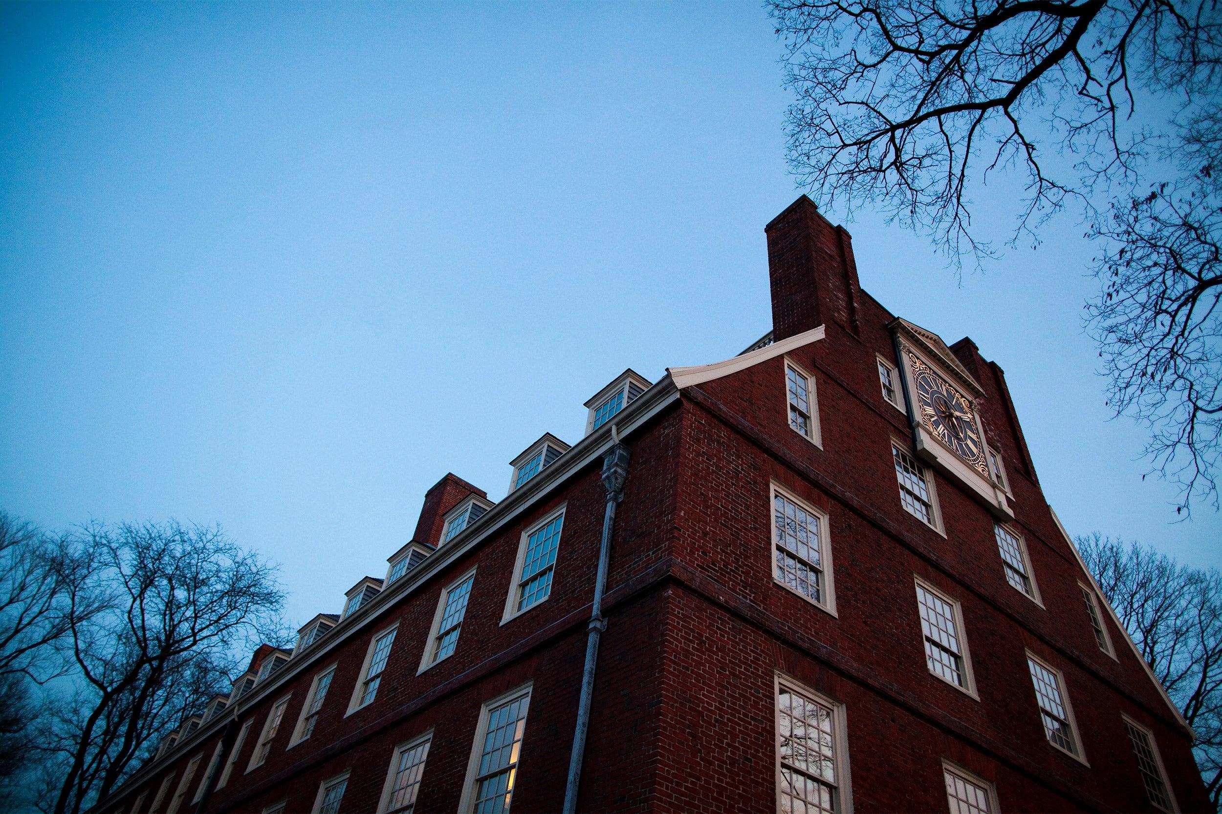 Massachusetts Hall at Harvard.