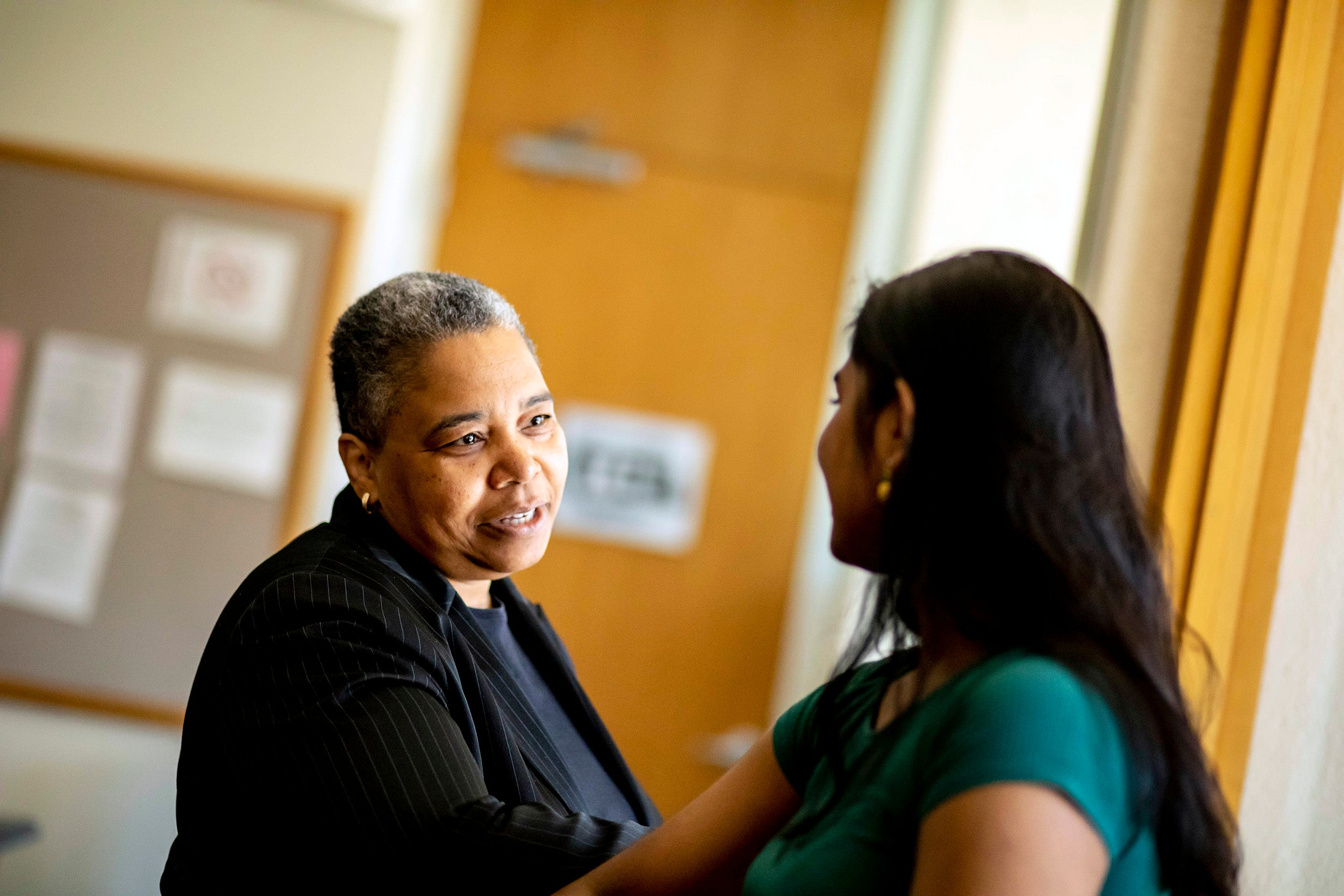 Currier House Faculty Dean, Latanya Sweeney, counsels a student.