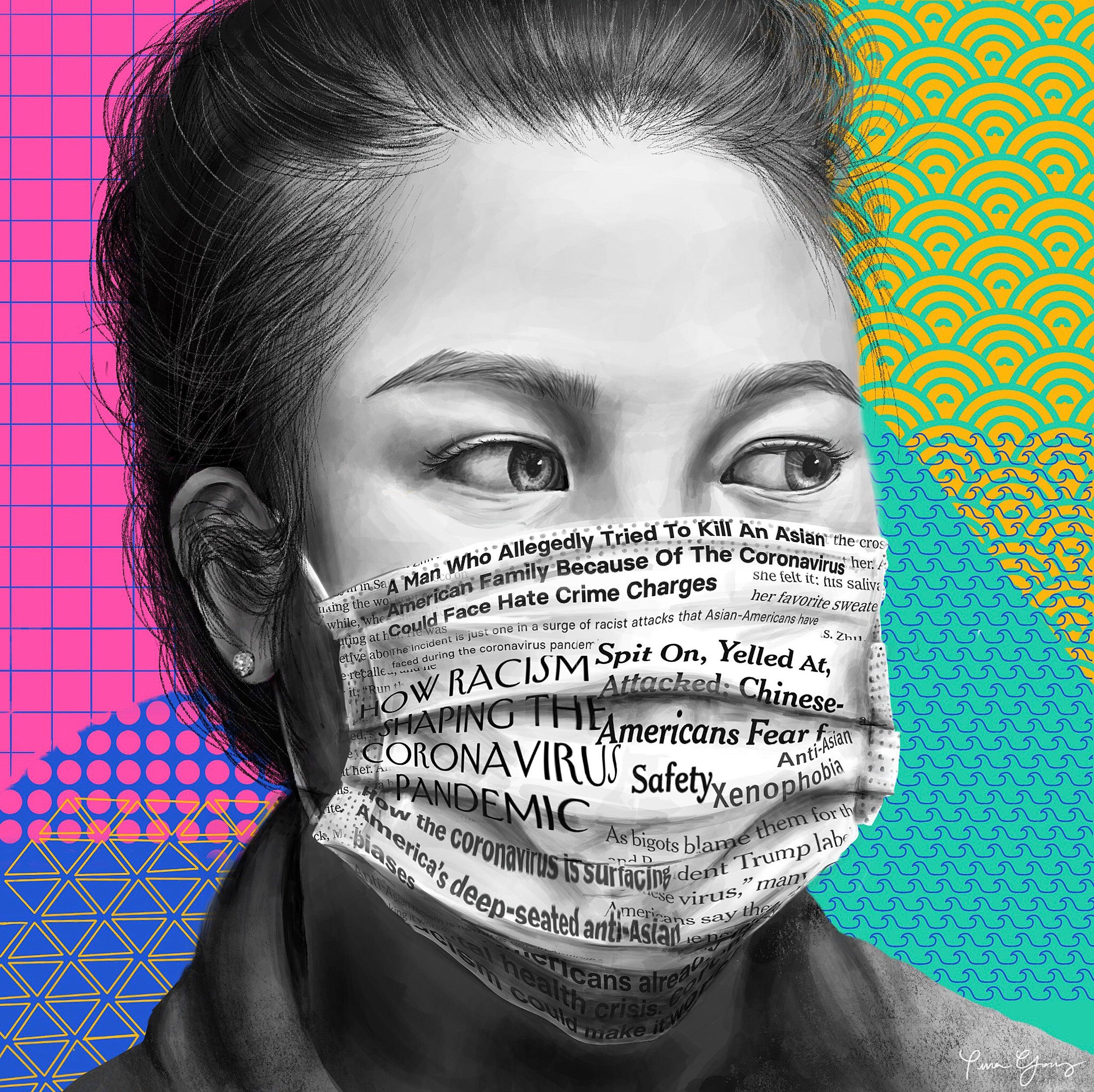 Woman wearing mask made of newspaper.