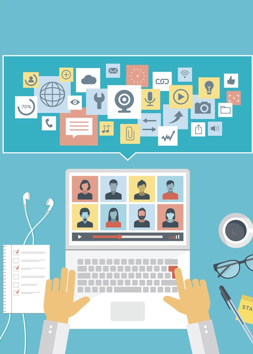 Illustration of someone teaching online.