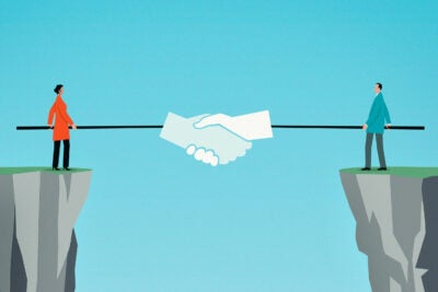Illustration of two people doing virtual handshake.