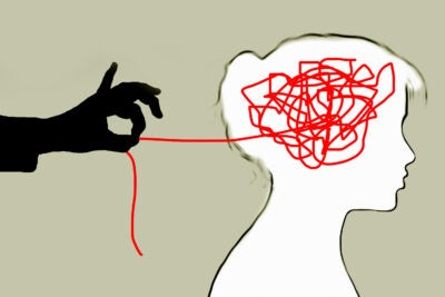 Illustration of a person having stress unraveled.