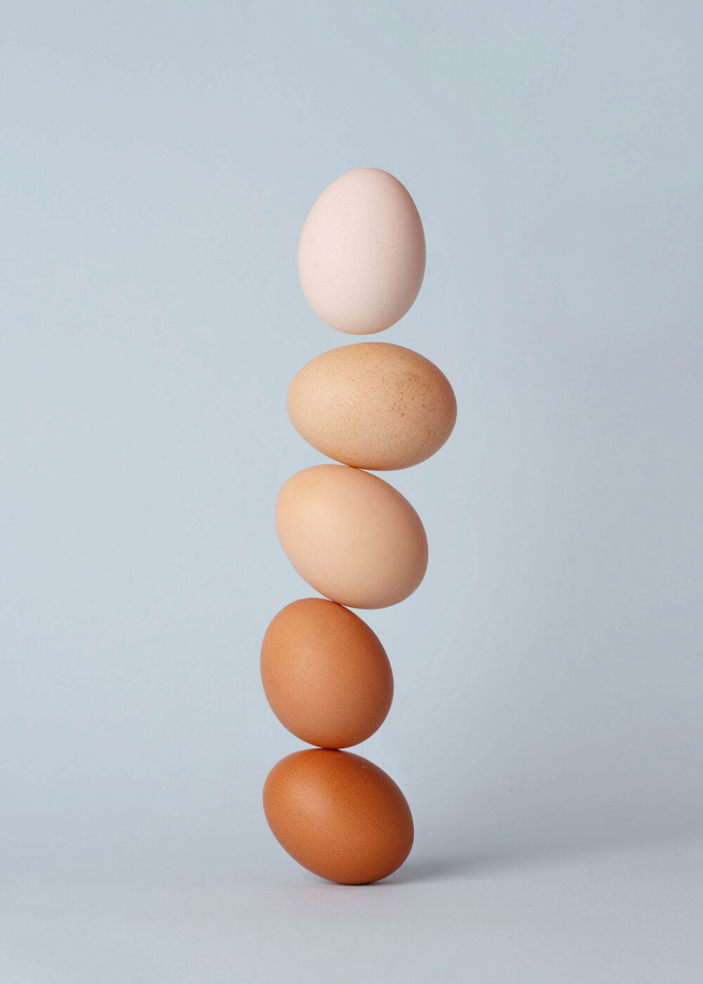Eggs stacked up.