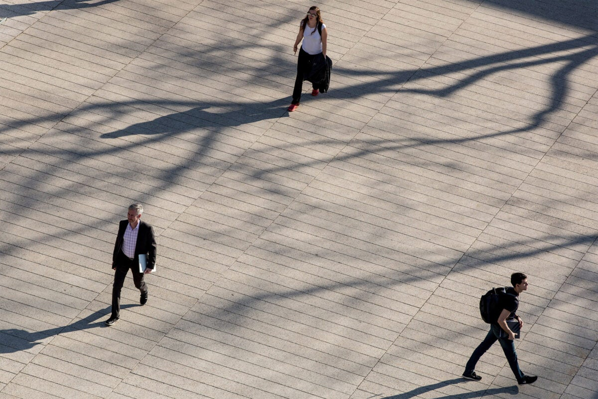 People walking 12 feet apart.