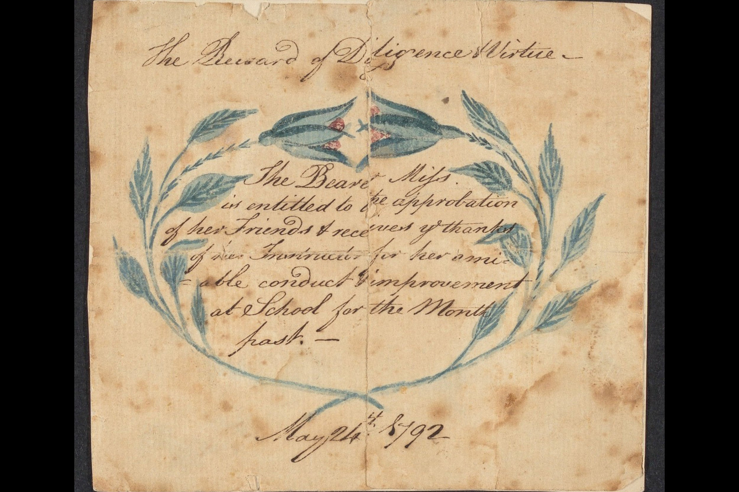 A school award given in 1792.