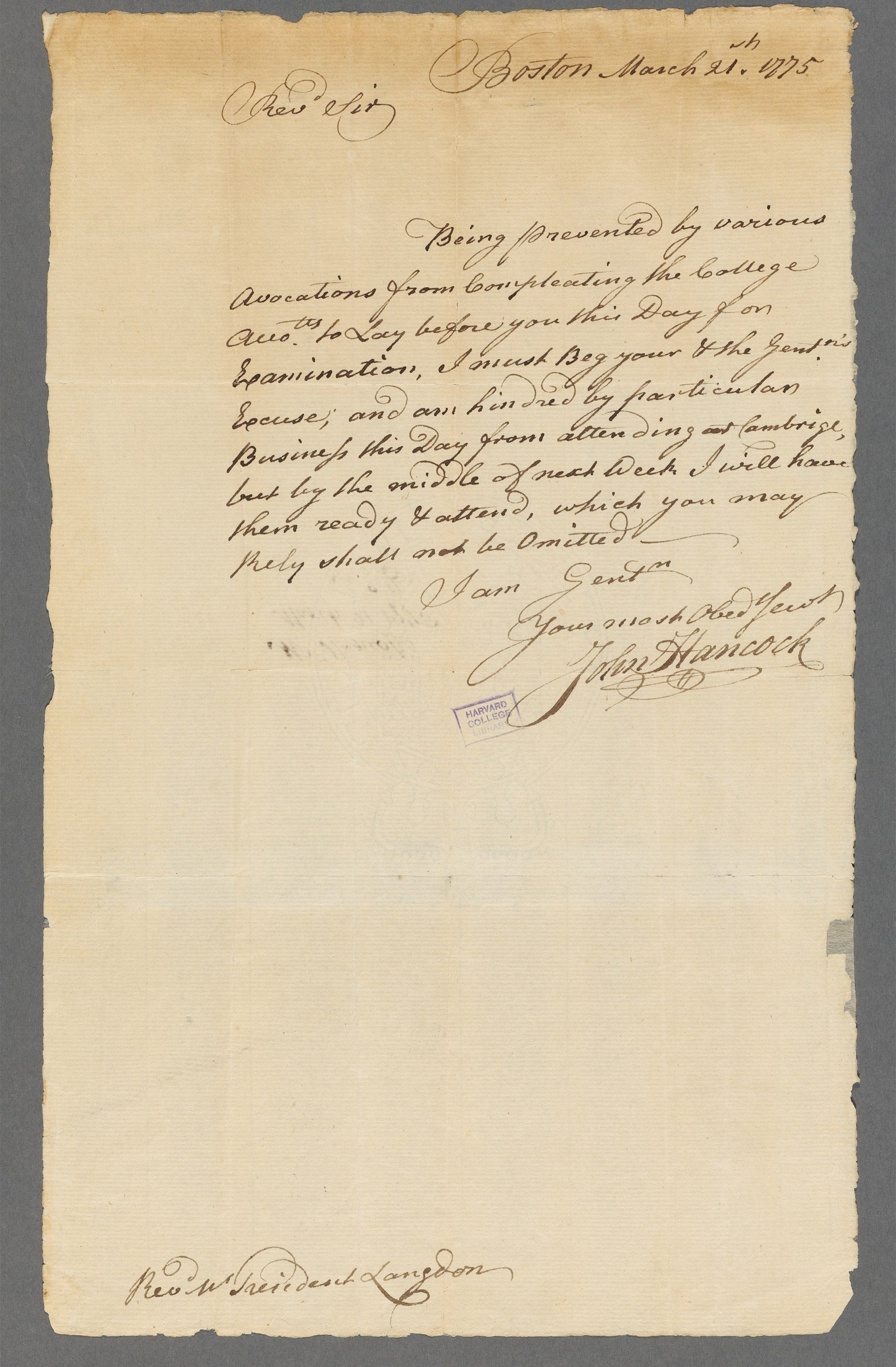 Hancock's signature.