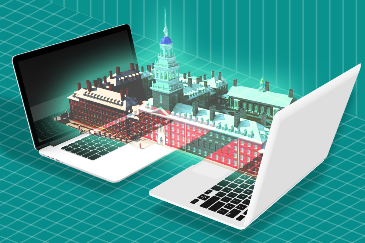Illustration of laptops projecting 3D campus model.