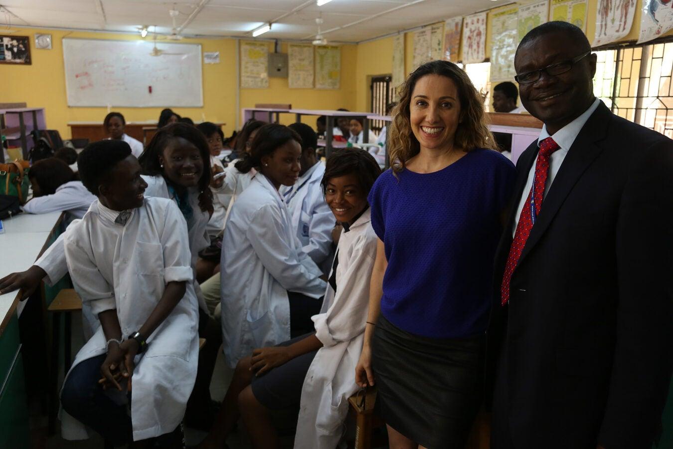 Sabeti in a lab in Nigeria.