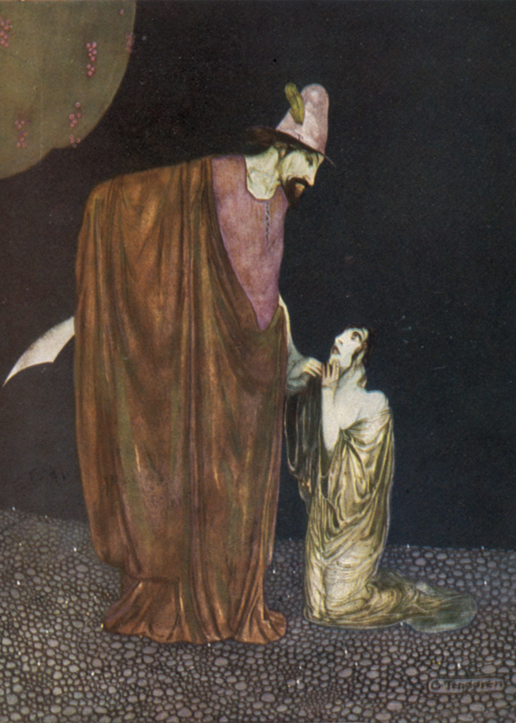 A 1923 illustration of Snow White and the hunter by Gustaf Tenggren.