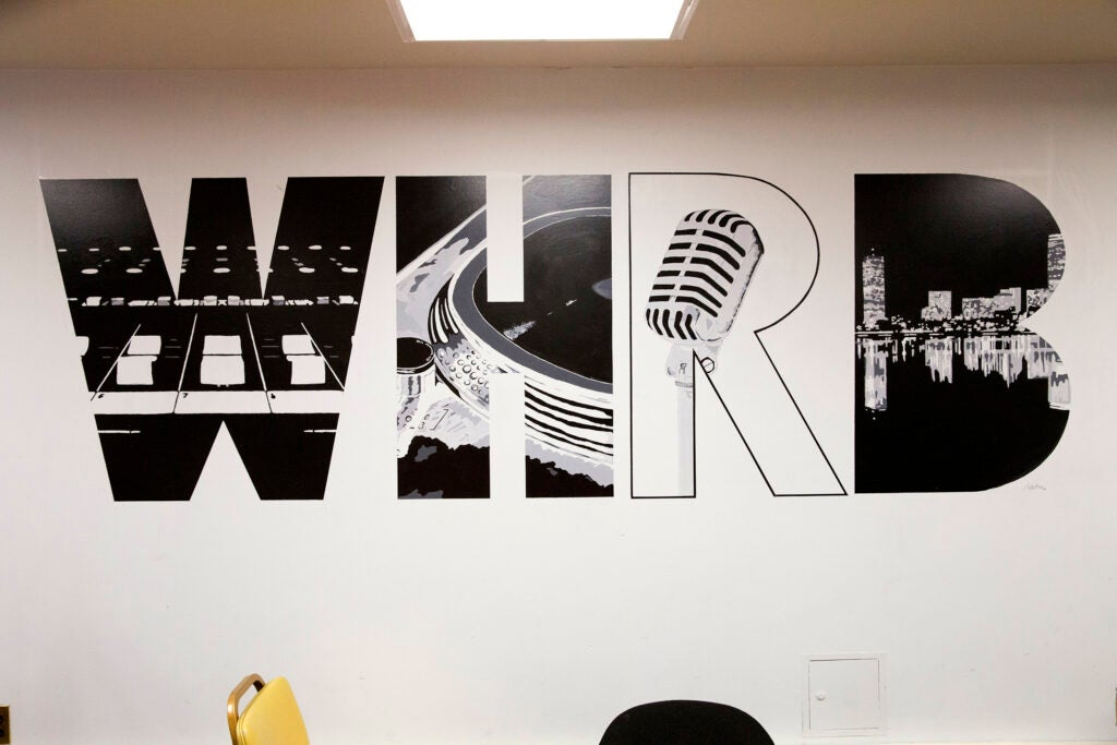 WHRB, 95.3FM, Harvard Radio station's call letters provide the graphics for its studio walls.