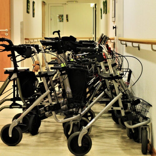 Mobility aids lined up.