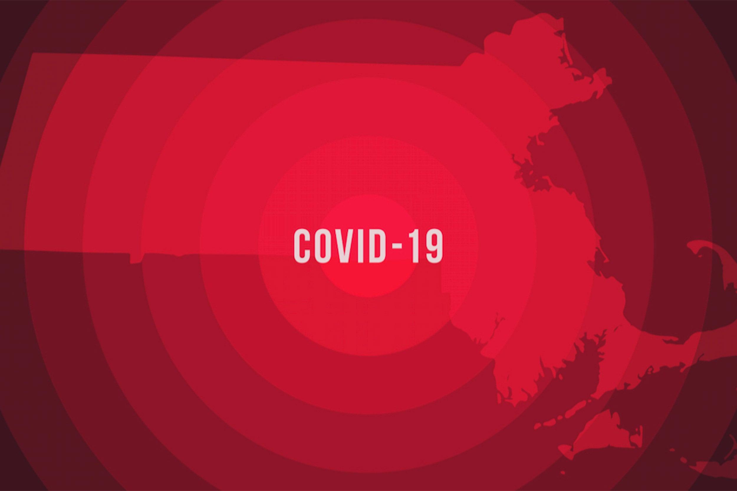Coronavirus pandemic reported on the map of Massachusetts.