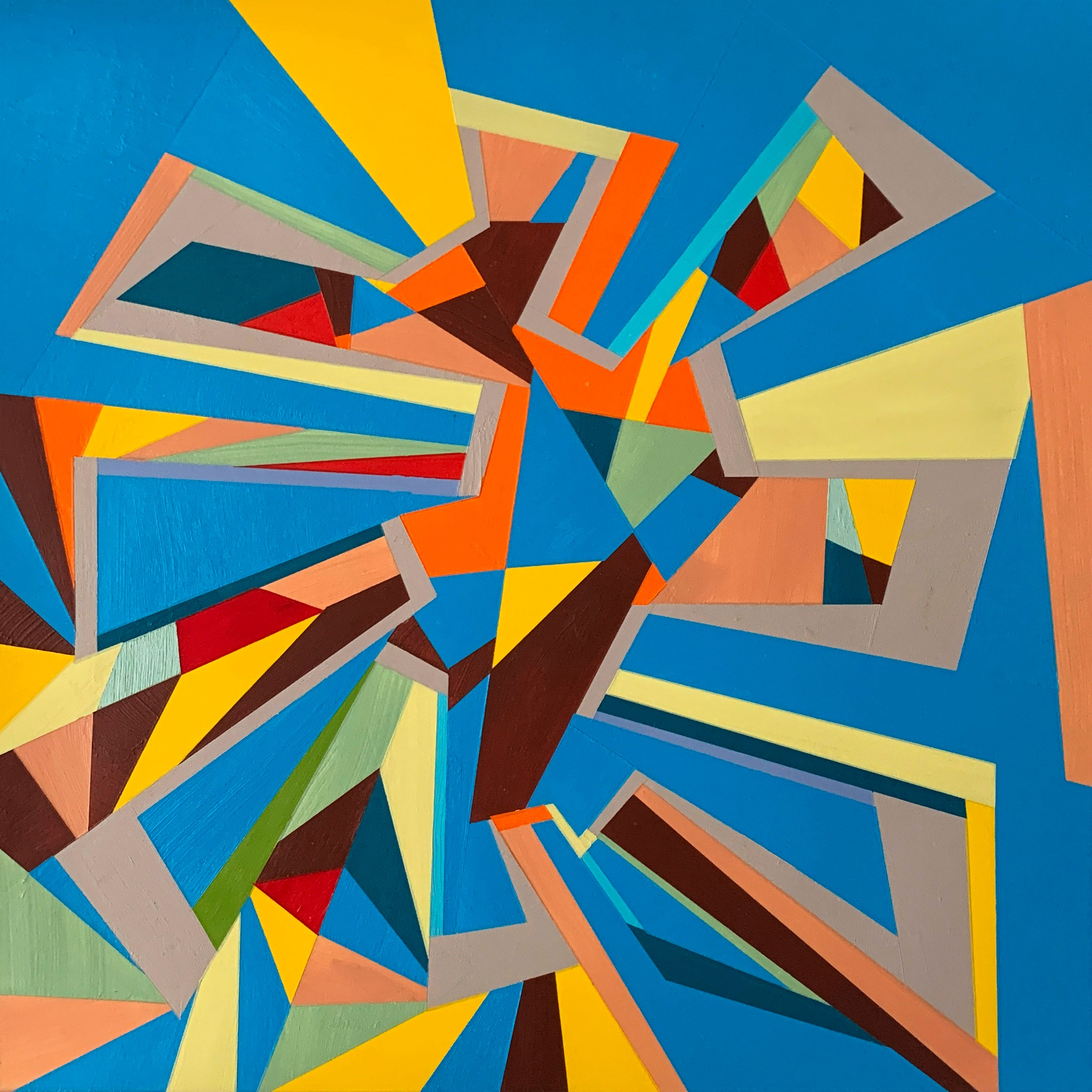 """Painting 1, 4/4/2020"" by Mark Feeney. Shapes and bright colors on blue background.."