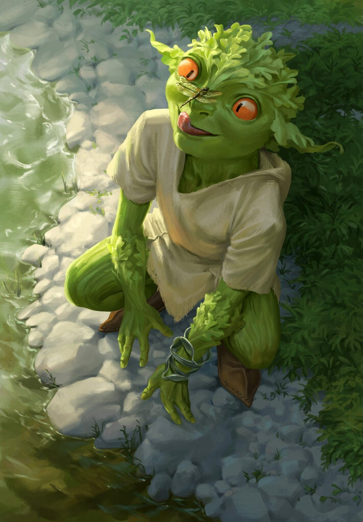 """""""Snack,"""" Isabel Gibney. Fantasy illustration of green creature with dragonfly on face."""