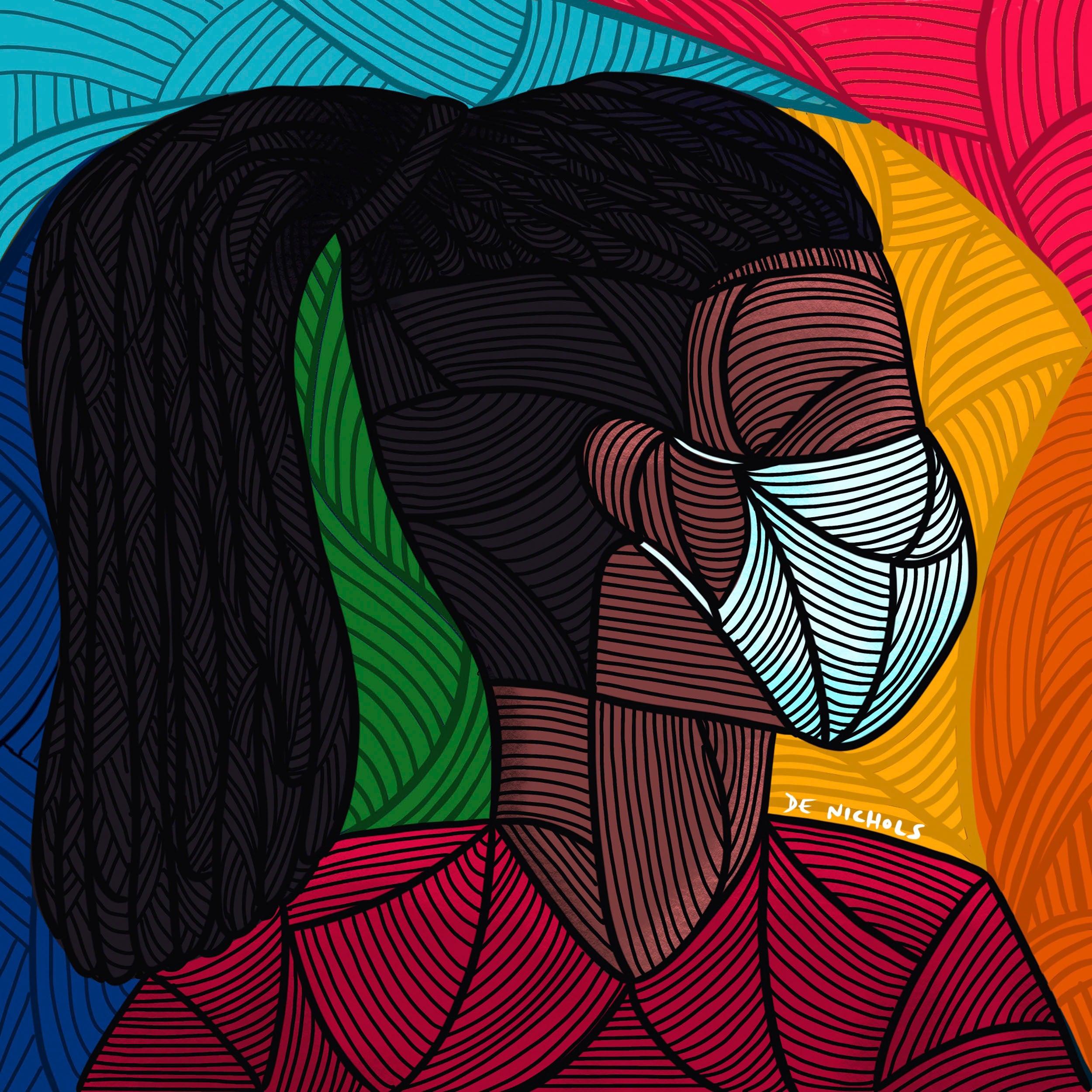 """""""Untitled Self Portrait"""" by De Nichols. Colorful portrait of person wearing mask."""
