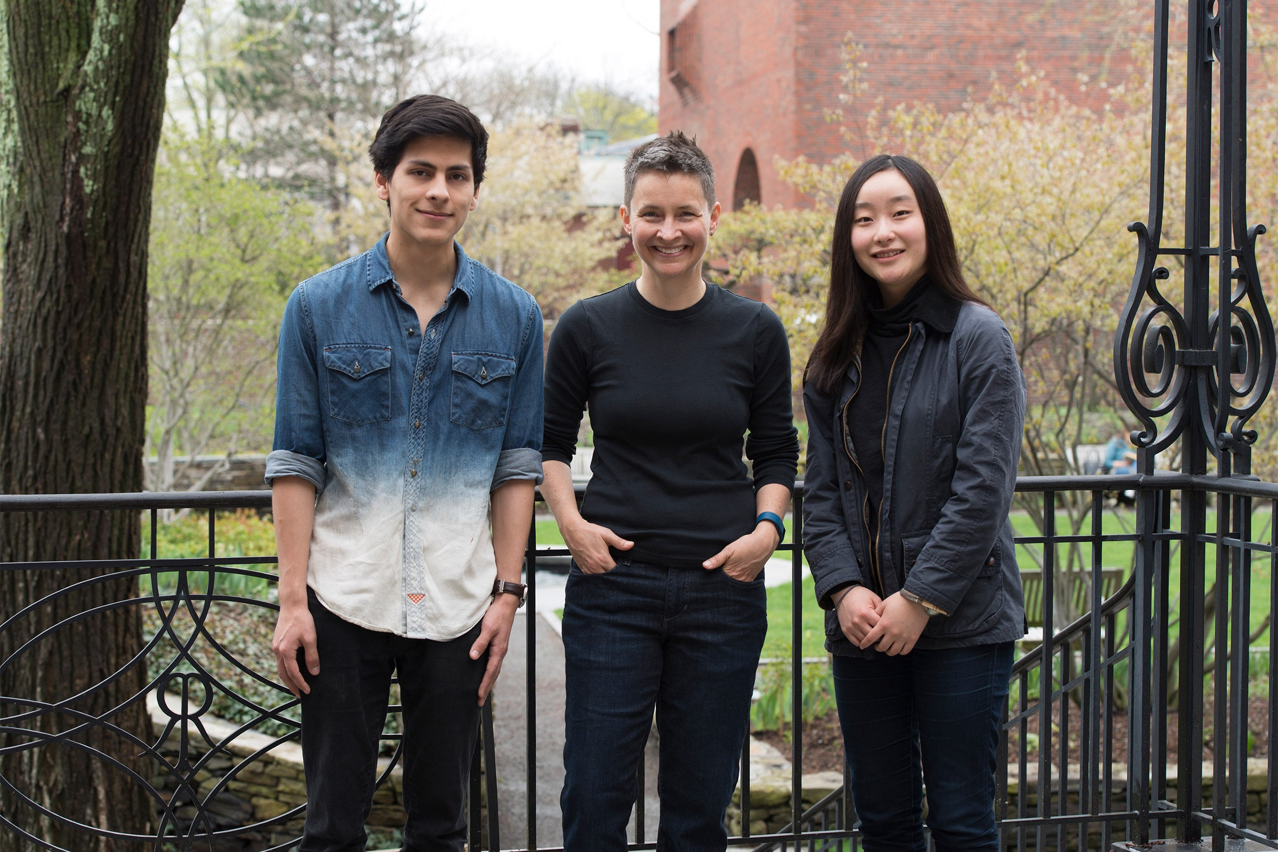 , Jordan Villegas (with Yu-Mi Kim '20, right) worked as a research partner with Professor Stephanie LeMenager.