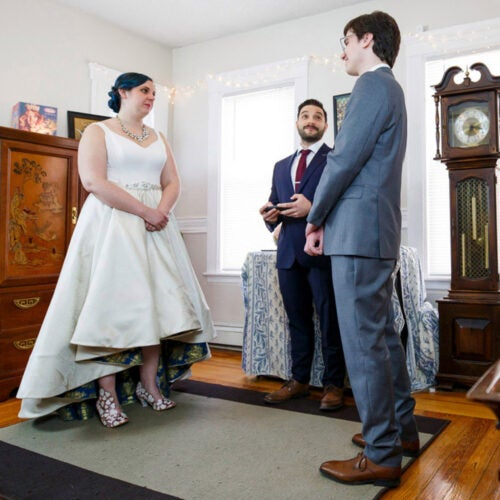 Lisa Albert and Matthew Tuttle at their Zoom wedding.