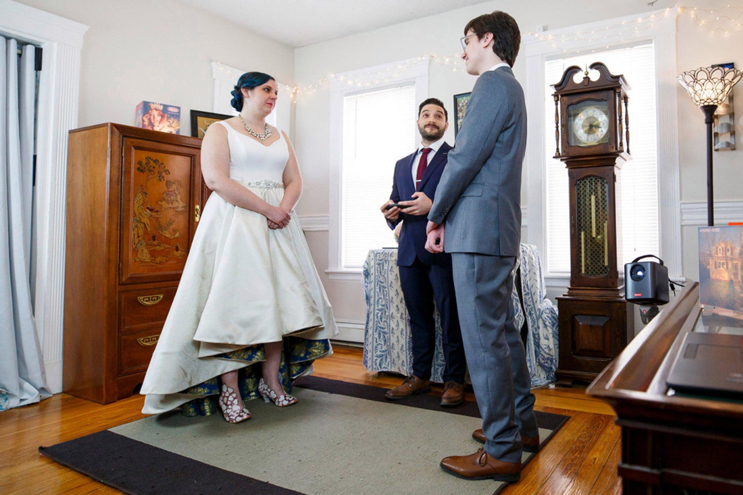 Lisa Albert and Matthew Tuttle at their Zoom wedding.