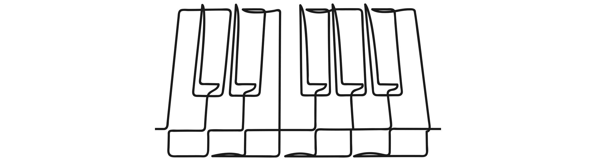 Sketch of piano keys.