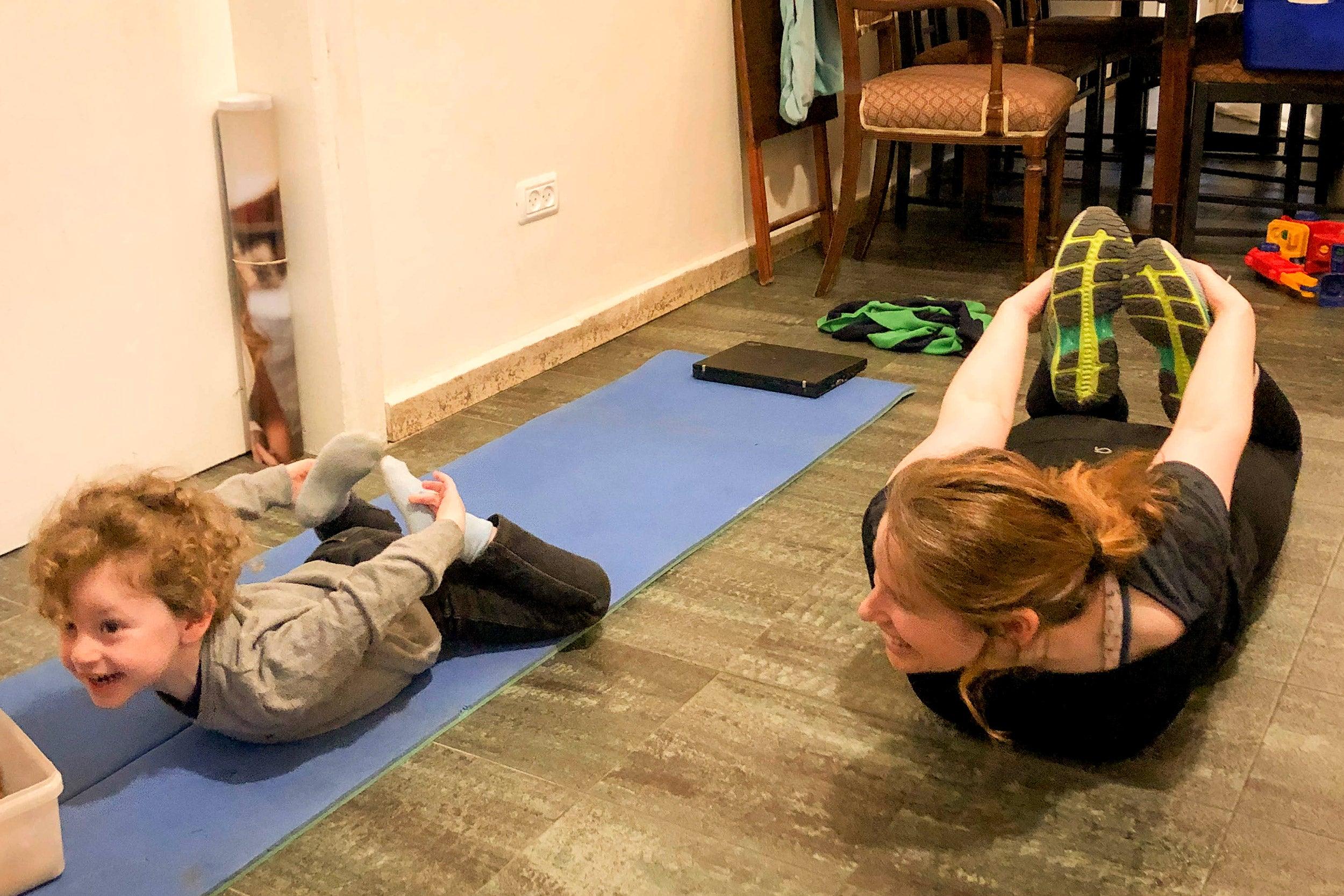 Talia Gillis doing yoga.