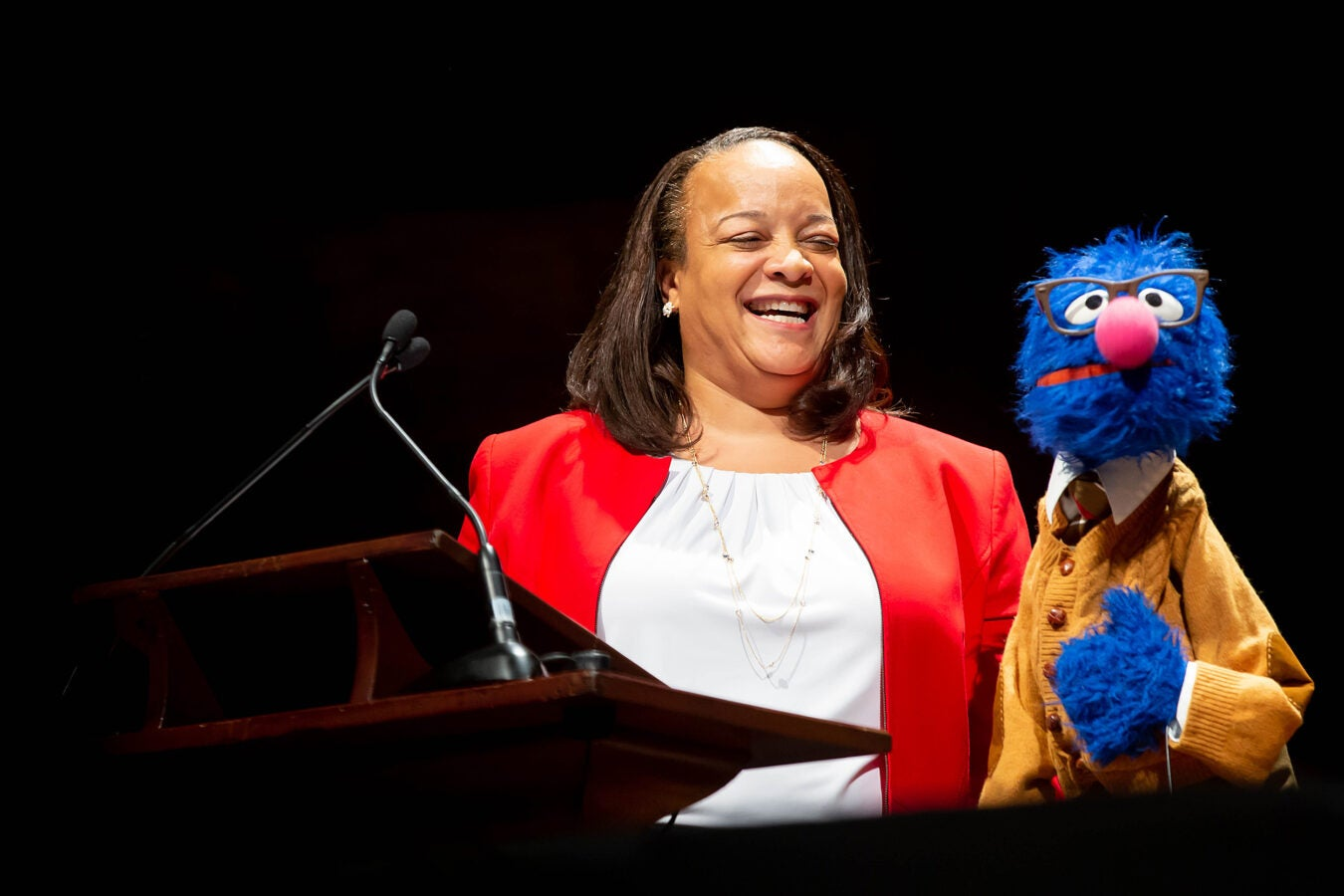 Bridget Terry Long with Grover.