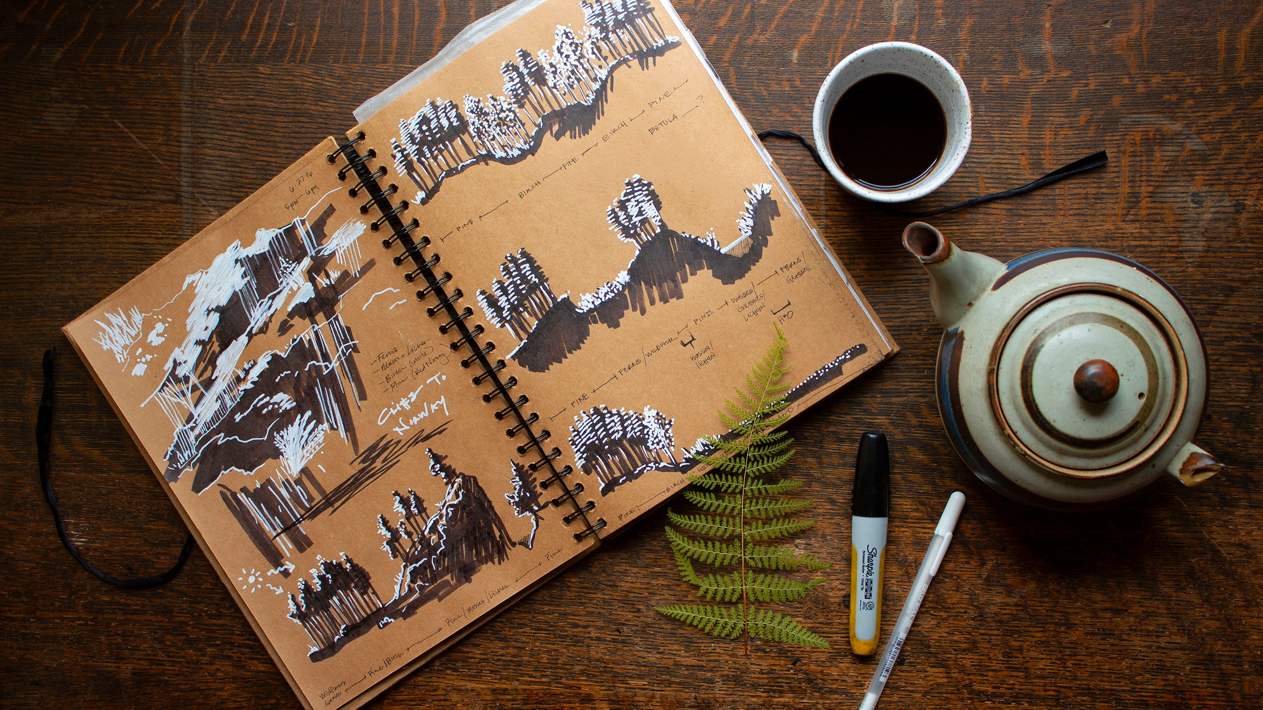 Landscape sketchbook of Jaz Bonnin.