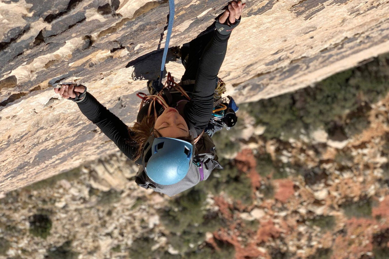 Christine Chang rock climbing.