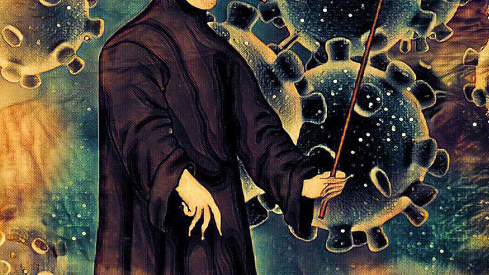Plague doctor illustration.