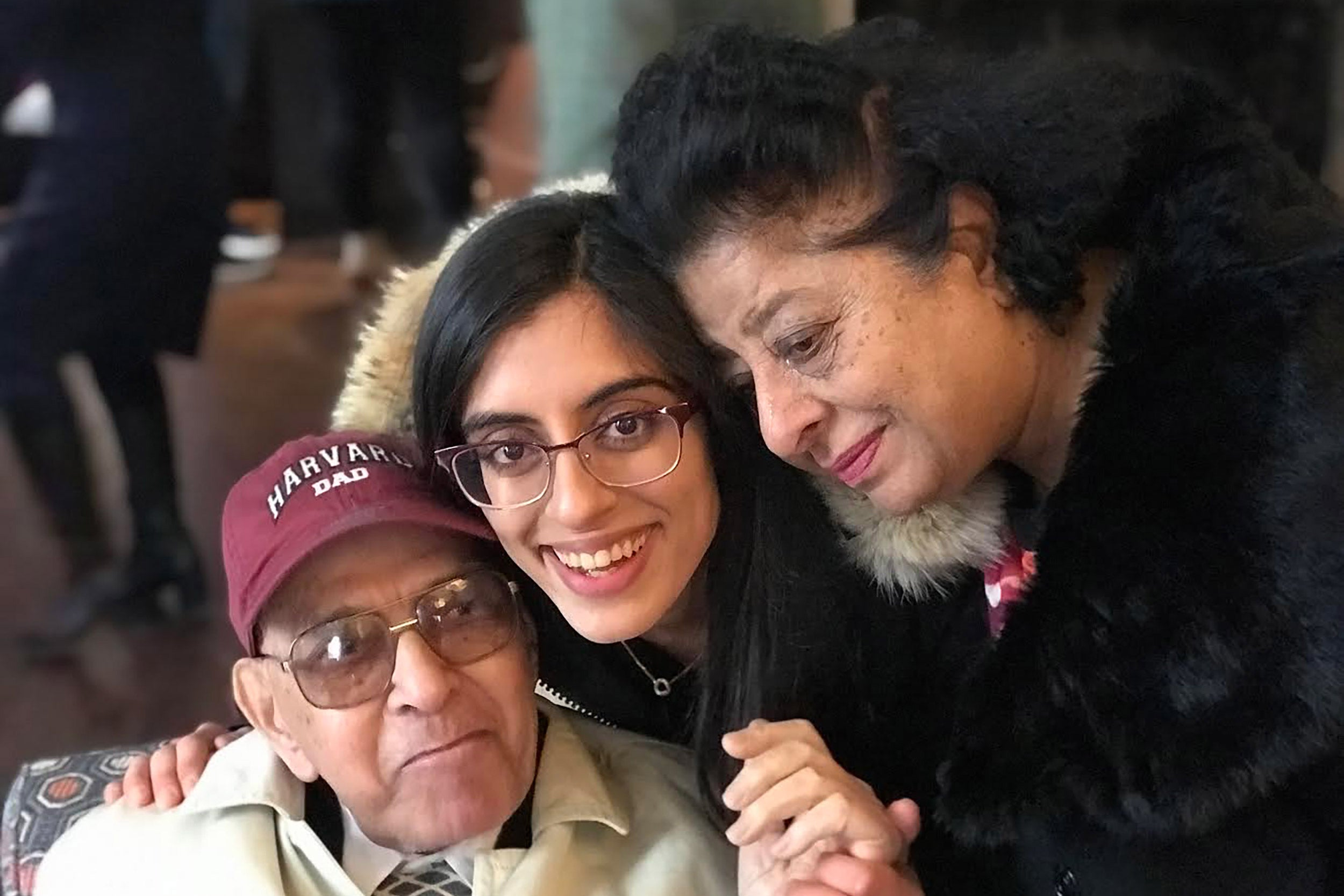 Sana Raoof with her grandfather and grandmother.