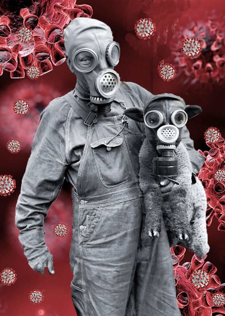 Person and animal with gas masks.