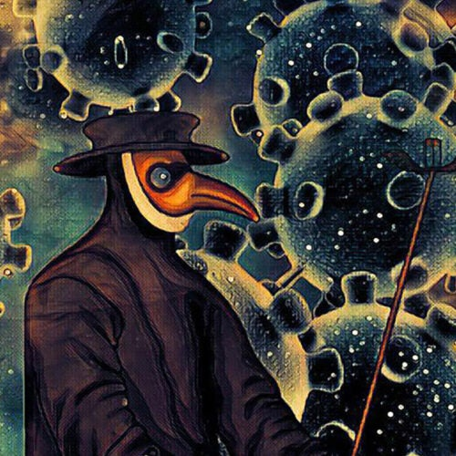 Plague doctor illustration.
