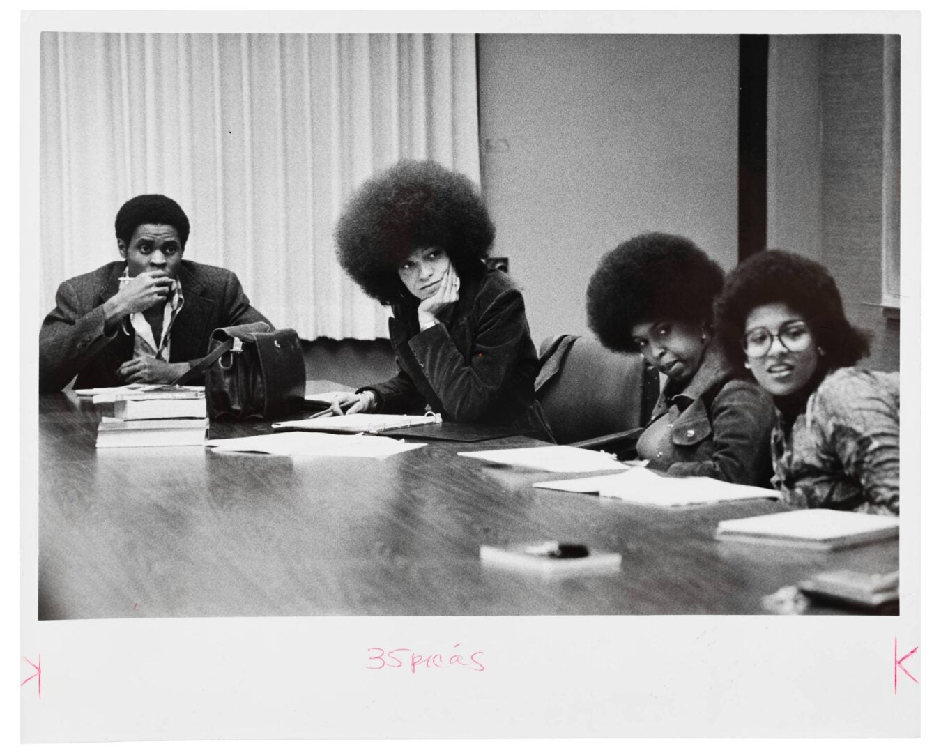 Black and white photo of Angela Davis.