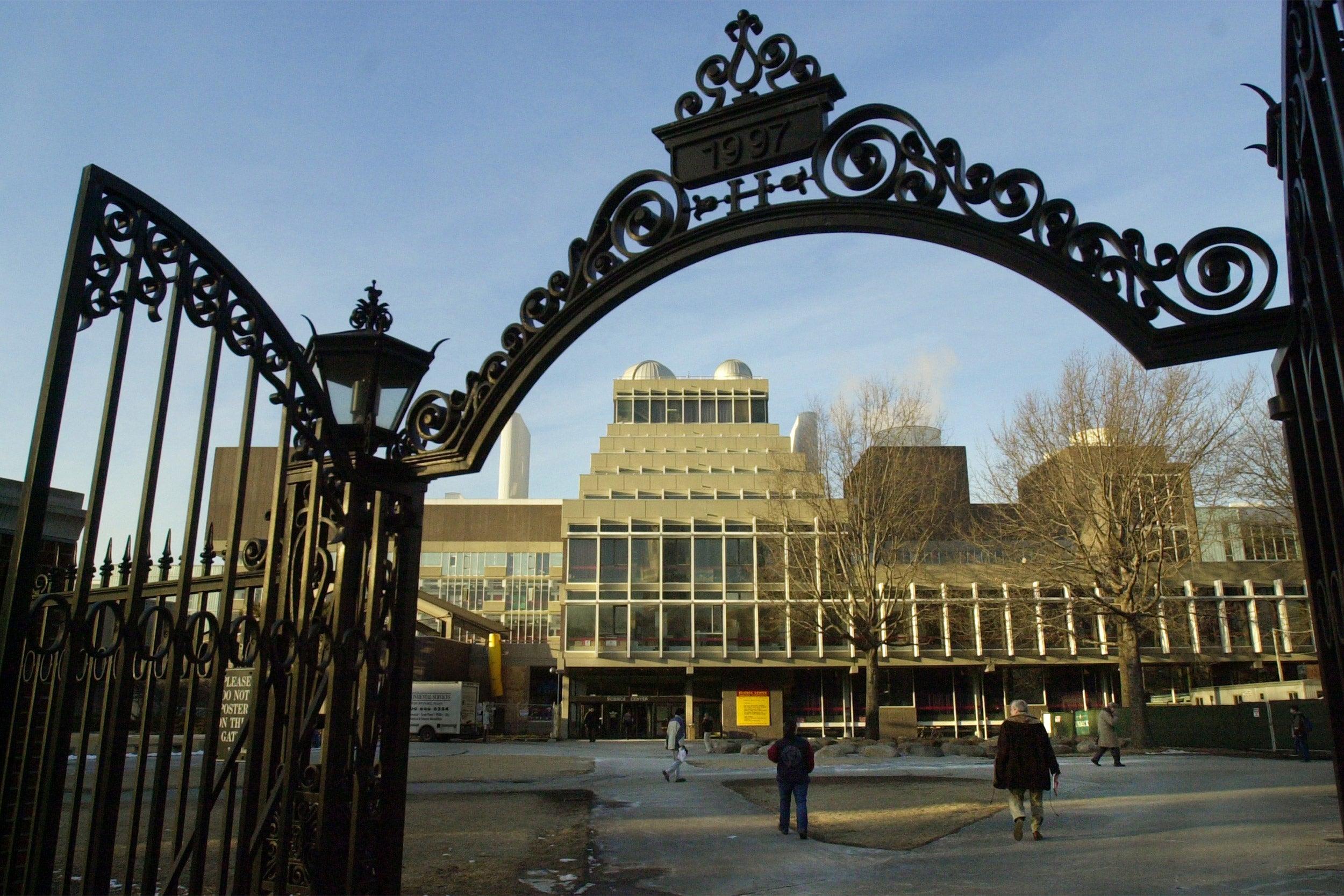 Harvard University gate leading to Science Center.