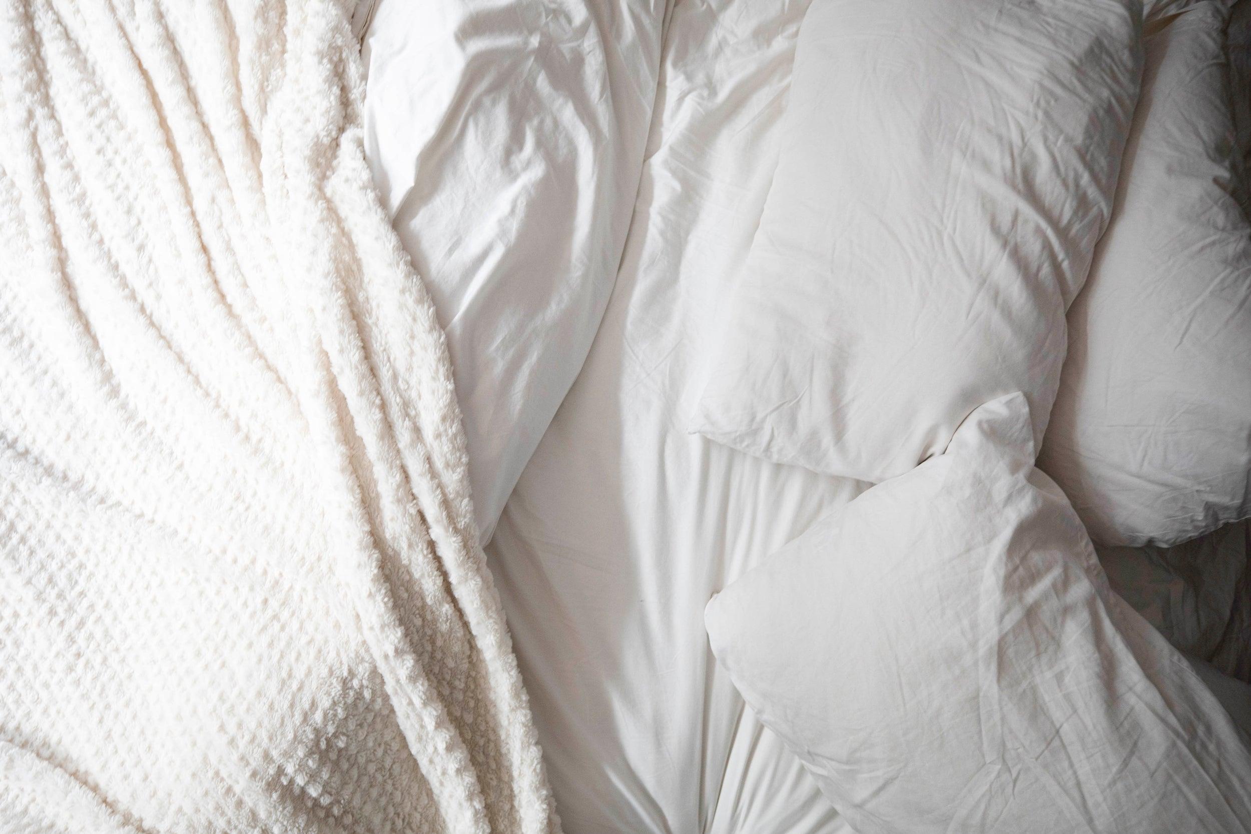 Pillows and sheets.